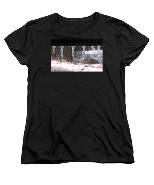 Women's T-Shirt (Standard Cut) featuring the photograph Icicles On The Bridge by Nina Silver