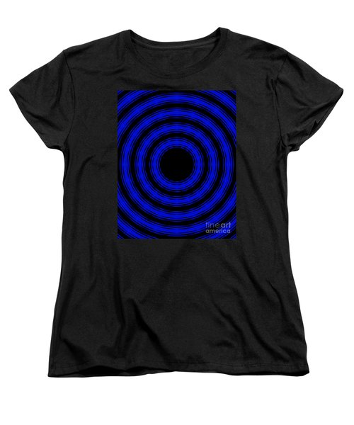 Women's T-Shirt (Standard Cut) featuring the painting In Circles- Blue Version by Roz Abellera Art