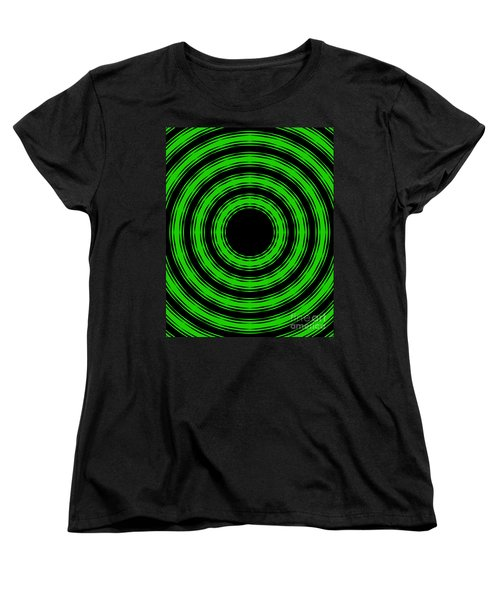 Women's T-Shirt (Standard Cut) featuring the painting In Circles-green Version by Roz Abellera Art