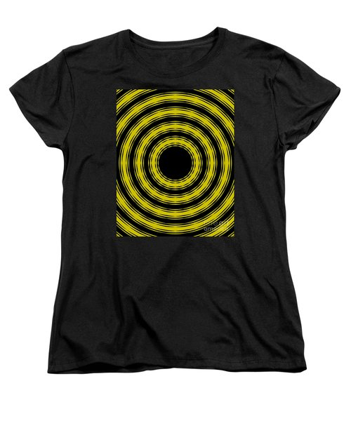 Women's T-Shirt (Standard Cut) featuring the painting In Circles- Yellow Version by Roz Abellera Art