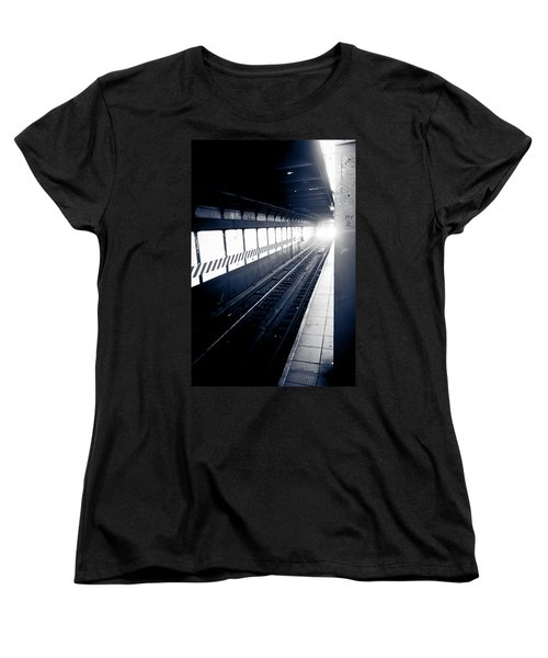 Women's T-Shirt (Standard Cut) featuring the photograph Incoming At The Subway - New York City by Peta Thames