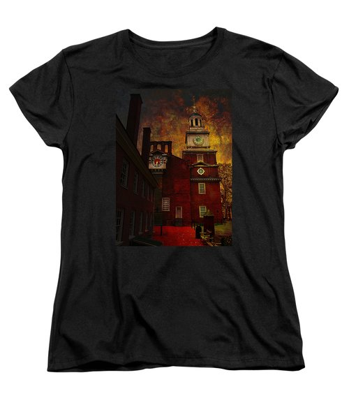 Independence Hall Philadelphia Let Freedom Ring Women's T-Shirt (Standard Cut) by Jeff Burgess