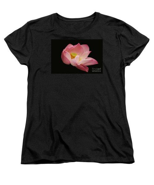 Indian Lotus On Black --- Sacred Light Women's T-Shirt (Standard Cut) by Byron Varvarigos