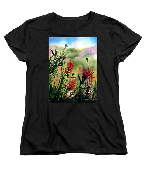 Indian Paint Brush Women's T-Shirt (Standard Cut) by Barbara Jewell
