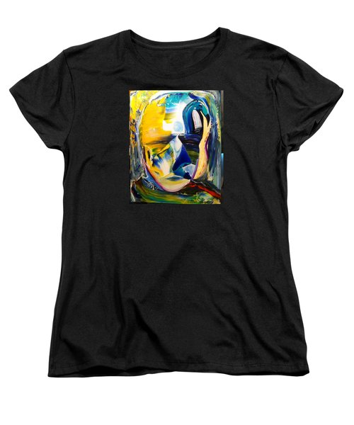 Women's T-Shirt (Standard Cut) featuring the painting Insightful To The Center by Kicking Bear  Productions