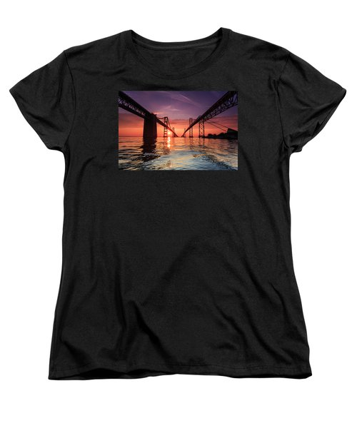 Women's T-Shirt (Standard Cut) featuring the photograph Into Sunrise - Bay Bridge by Jennifer Casey