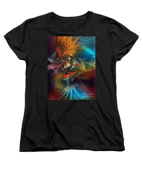 Intricate Life Paths-abstract Art Women's T-Shirt (Standard Cut) by Karin Kuhlmann