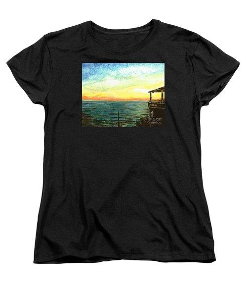 Women's T-Shirt (Standard Cut) featuring the painting Ionian Sea Zanti Greek Island by Teresa White
