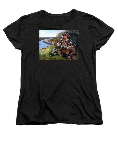 Ipswich Bay Wooden Buoys Women's T-Shirt (Standard Cut) by Eileen Patten Oliver