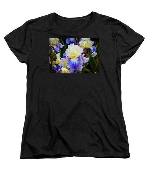 Women's T-Shirt (Standard Cut) featuring the photograph Iris In Blue And Yellow by Patricia Babbitt
