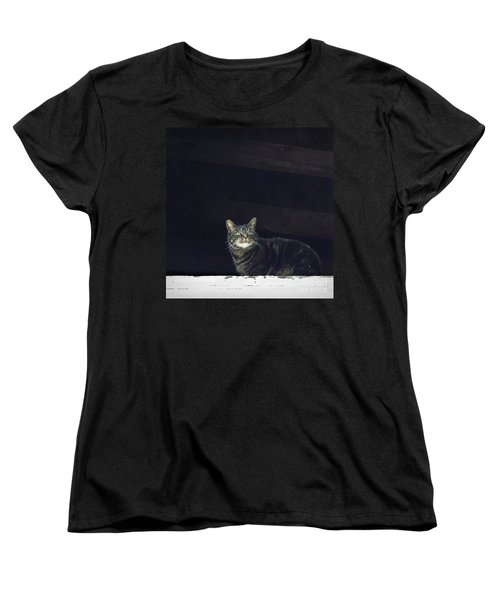 Women's T-Shirt (Standard Cut) featuring the photograph It's Snowing -- Looking Out The Barn Window by Joy Nichols