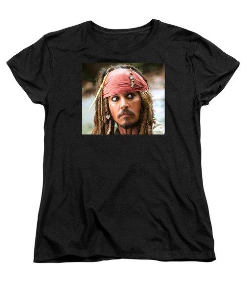Jack Sparrow Women's T-Shirt (Standard Cut) by Paul Tagliamonte