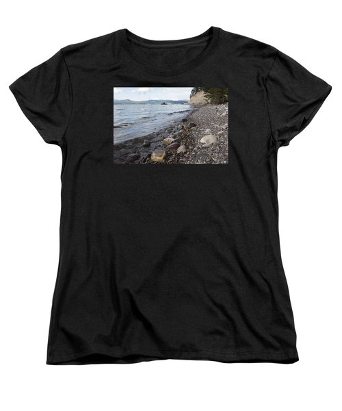 Jackson Lake With Boats Women's T-Shirt (Standard Cut) by Belinda Greb