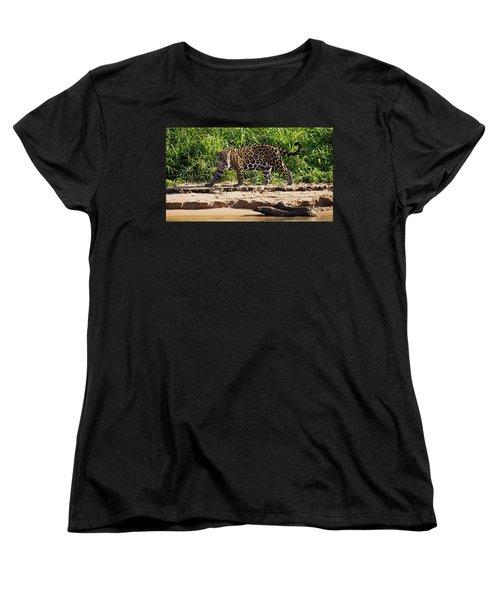 Jaguar River Walk Women's T-Shirt (Standard Cut) by David Beebe