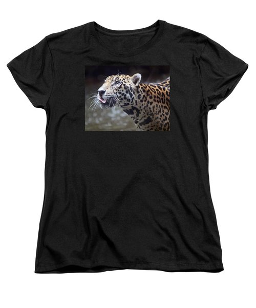 Women's T-Shirt (Standard Cut) featuring the photograph Jaguar Sticking Out Tongue by Shoal Hollingsworth