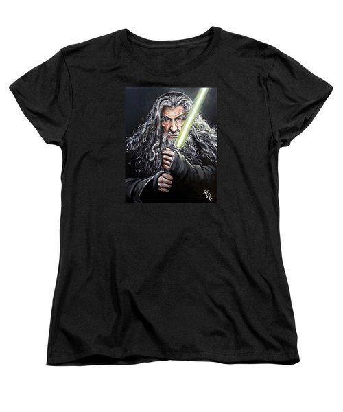 Jedi Master Gandalf Women's T-Shirt (Standard Cut) by Tom Carlton