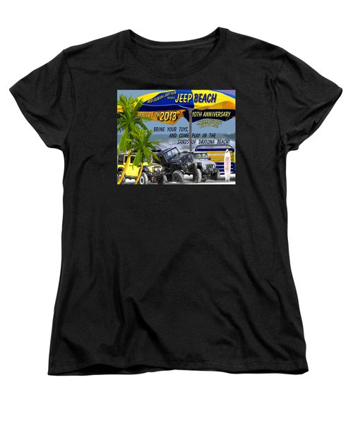 Women's T-Shirt (Standard Cut) featuring the photograph Jeep Beach 2013 Welcomes All Jeepers by DigiArt Diaries by Vicky B Fuller