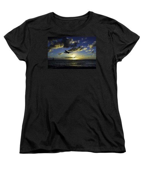 jetBlue landing at St. Maarten Women's T-Shirt (Standard Cut) by David Gleeson