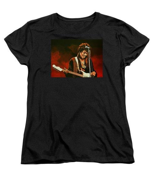 Jimi Hendrix Painting Women's T-Shirt (Standard Cut) by Paul Meijering