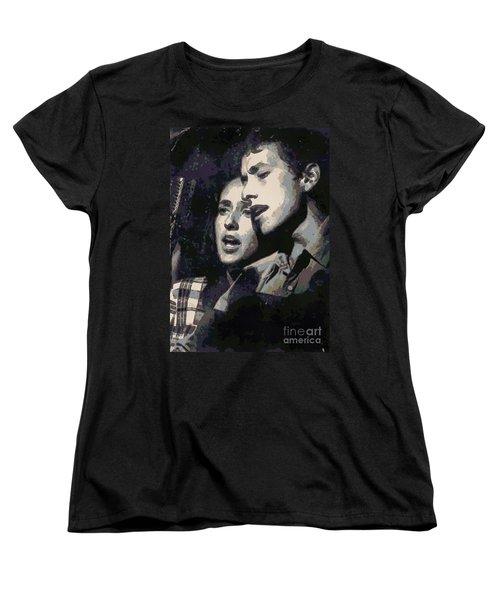 Joan Baez And Bob Dylan Women's T-Shirt (Standard Cut) by Paulette B Wright