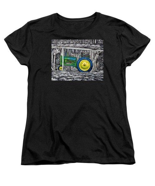 Women's T-Shirt (Standard Cut) featuring the painting John Deere Green by Craig T Burgwardt