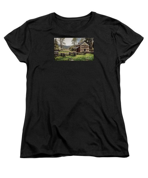 Women's T-Shirt (Standard Cut) featuring the photograph John Oliver's Cabin In Spring. by Debbie Green