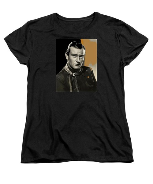 John Wayne  Publicity Photo In Costume Stagecoach 1939-2009 Women's T-Shirt (Standard Cut) by David Lee Guss