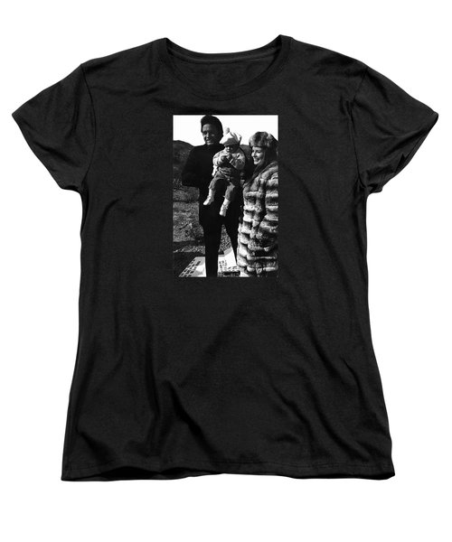 Women's T-Shirt (Standard Cut) featuring the photograph Johnny Cash And Family Old Tucson Arizona 1971 by David Lee Guss