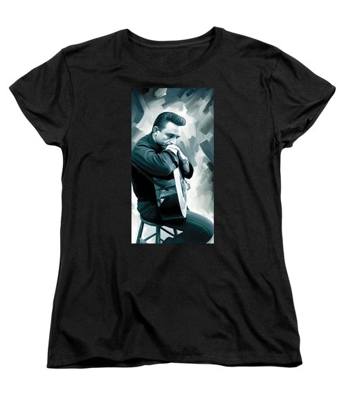 Johnny Cash Artwork 3 Women's T-Shirt (Standard Cut) by Sheraz A