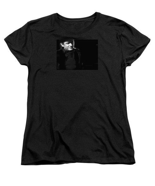 Women's T-Shirt (Standard Cut) featuring the photograph Johnny Cash Film Noir Homage Old Tucson Arizona 1971 by David Lee Guss