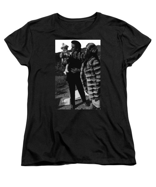 Women's T-Shirt (Standard Cut) featuring the photograph Johnny Cash Flesh And Blood Music Homage Cash Family Old Tucson Az by David Lee Guss