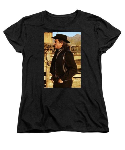 Women's T-Shirt (Standard Cut) featuring the photograph Johnny Cash Golden Gate Peak Old Tucson Arizona 1971 by David Lee Guss