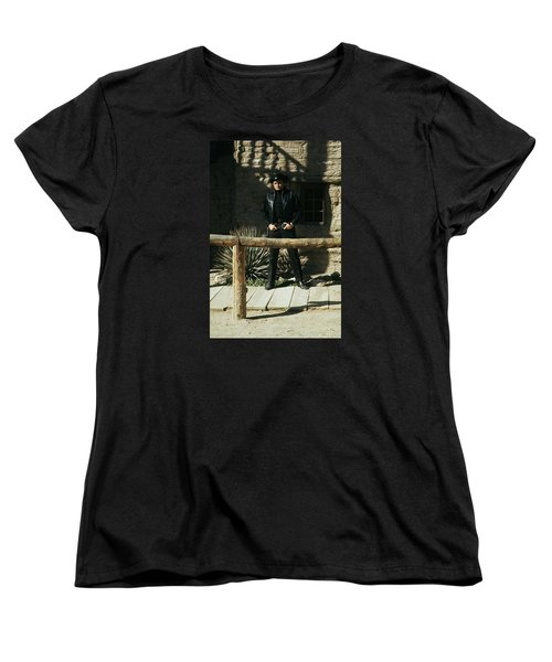 Women's T-Shirt (Standard Cut) featuring the photograph Johnny Cash Gunfighter Hitching Post Old Tucson Arizona 1971 by David Lee Guss