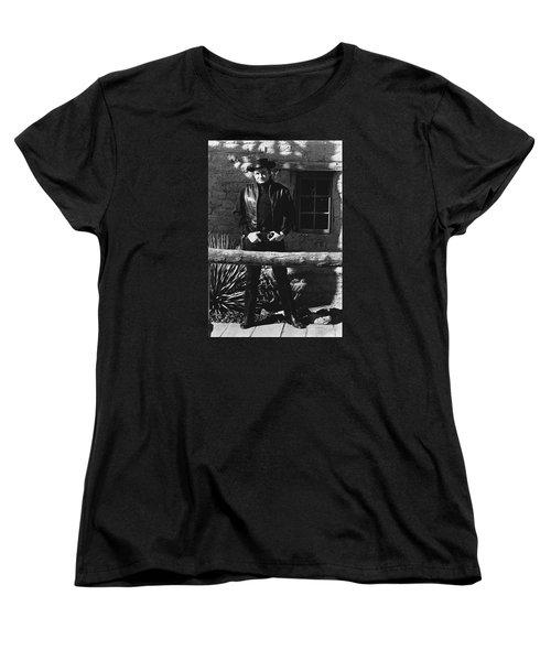 Women's T-Shirt (Standard Cut) featuring the photograph Johnny Cash Gunslinger Hitching Post Old Tucson Arizona 1971  by David Lee Guss
