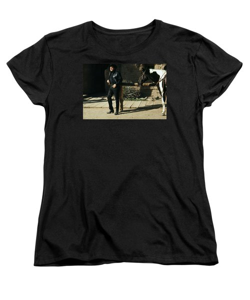 Women's T-Shirt (Standard Cut) featuring the photograph Johnny Cash Horse Old Tucson Arizona 1971 by David Lee Guss