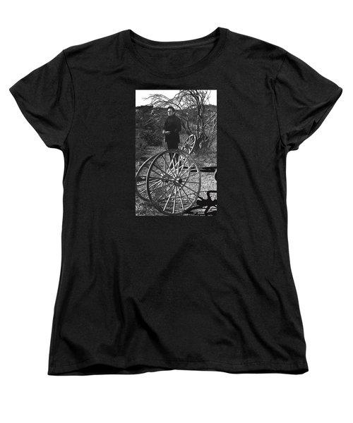 Women's T-Shirt (Standard Cut) featuring the photograph Johnny Cash  Meditating Wagon Wheel Graveyard Old Tucson Arizona 1971 by David Lee Guss