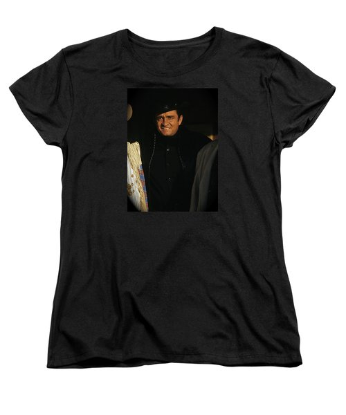 Women's T-Shirt (Standard Cut) featuring the photograph Johnny Cash Music Homage Solitary Man Flanked By Chill Wills  Andy Devine Old Tucson Az 1971 by David Lee Guss