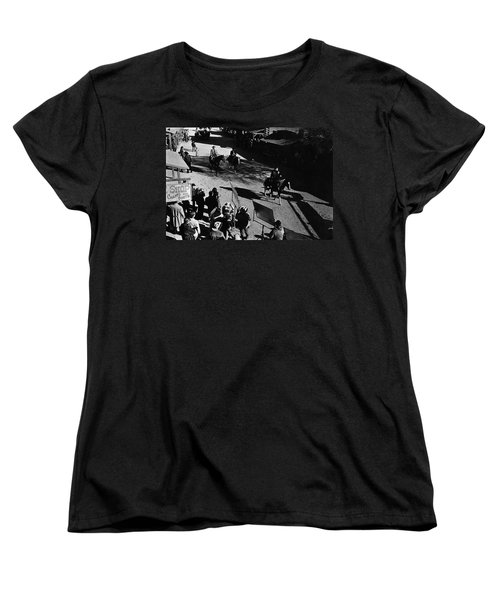 Women's T-Shirt (Standard Cut) featuring the photograph Johnny Cash Riding Horse Filming Promo Main Street Old Tucson Arizona 1971 by David Lee Guss