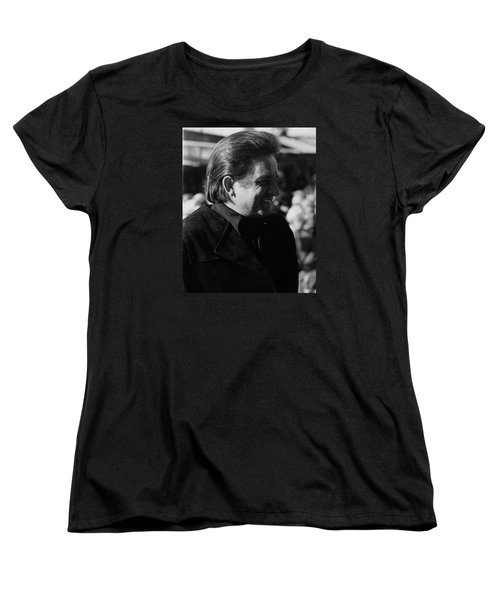 Women's T-Shirt (Standard Cut) featuring the photograph Johnny Cash Smiling Old Tucson Arizona 1971 by David Lee Guss