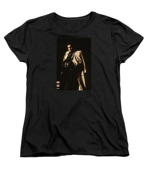 Women's T-Shirt (Standard Cut) featuring the photograph Johnny Cash Trench Coat Variation  Old Tucson Arizona 1971 by David Lee Guss