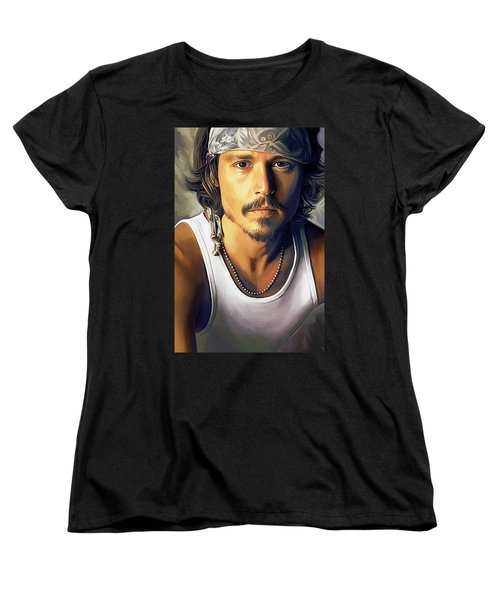 Johnny Depp Artwork Women's T-Shirt (Standard Cut) by Sheraz A