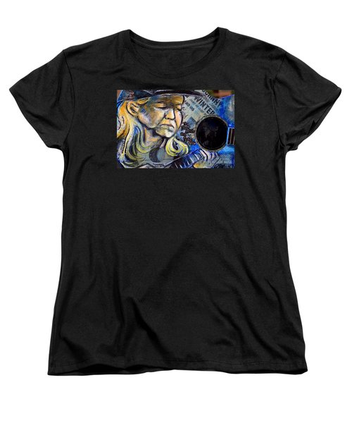Johnny Winter Painted Guitar Women's T-Shirt (Standard Cut) by Fiona Kennard