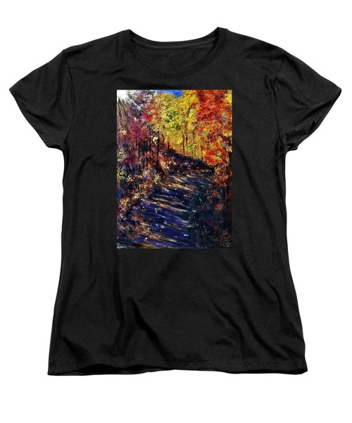 Women's T-Shirt (Standard Cut) featuring the painting Just The Sound Of The Forest... by Cristina Mihailescu
