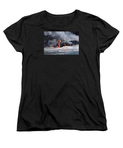Lava Falls At Kalapana Women's T-Shirt (Standard Cut) by Venetia Featherstone-Witty