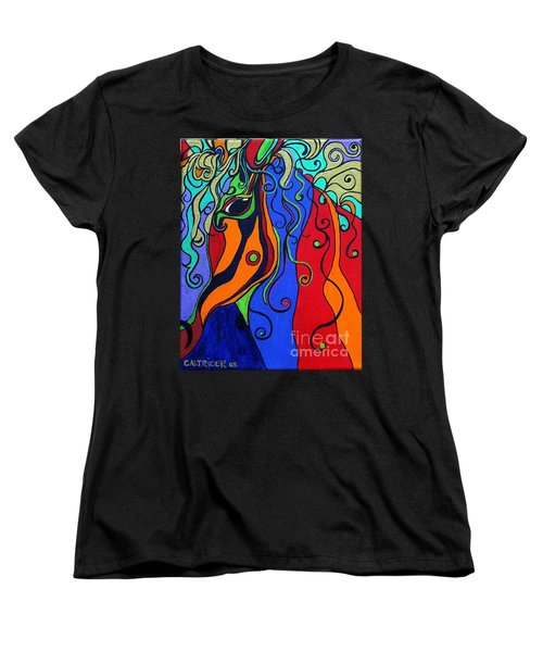 Women's T-Shirt (Standard Cut) featuring the painting Kaleidoscope Eyes by Alison Caltrider