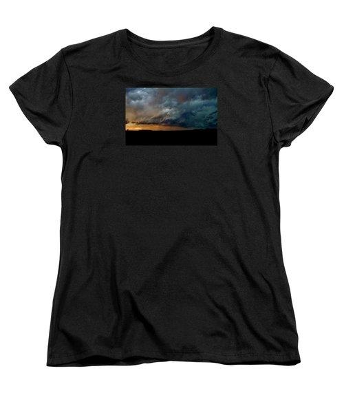 Women's T-Shirt (Standard Cut) featuring the photograph Kansas Tornado At Sunset by Ed Sweeney