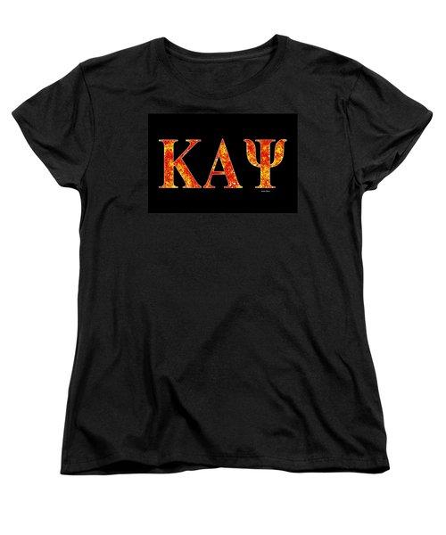 Women's T-Shirt (Standard Cut) featuring the digital art Kappa Alpha Psi - Black by Stephen Younts