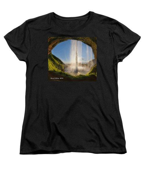 Women's T-Shirt (Standard Cut) featuring the painting Karen's Waterfalls by Bruce Nutting