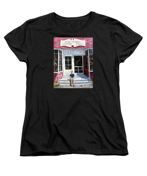 Women's T-Shirt (Standard Cut) featuring the painting Katie At Bass Harbor Maine by Lee Piper