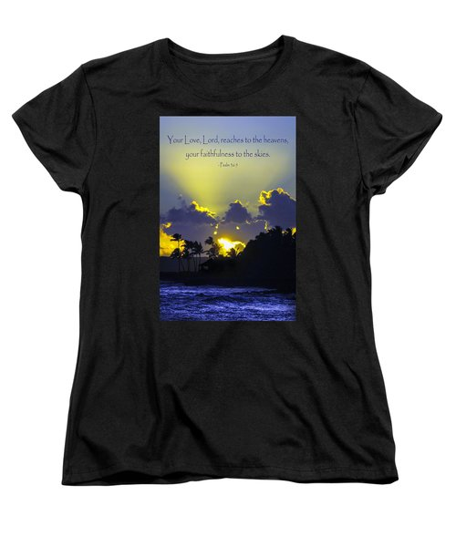Kauai Sunset Psalm 36 5 Women's T-Shirt (Standard Cut) by Debbie Karnes